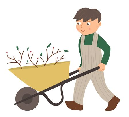 Vector illustration of a boy pulling wheelbarrow isolated on white background. Cute kid doing garden work. Spring gardening activity picture with funny character.