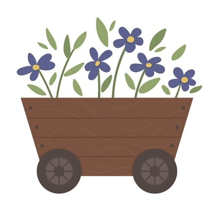 Vector illustration of flower bed. Garden decorative wheelbarrow like wooden flowerbed with plants. Beautiful spring and summer herbs and flowers.