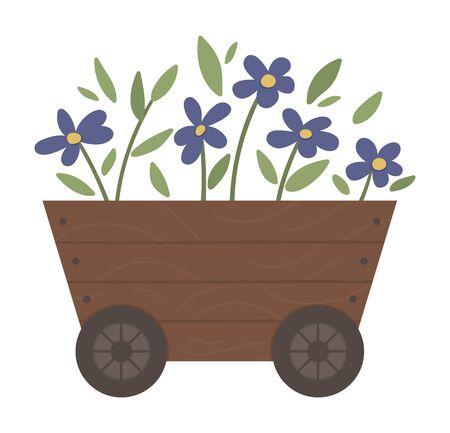 Vektorillustration des Blumenbeets. Garten dekorative Schubkarre wie Holzblumenbeet mit Pflanzen. Schöne Frühlings- und Sommerkräuter und Blumen.