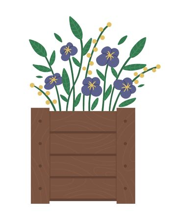 Vector illustration of flower bed. Garden decorative wooden case flowerbed with violets. Beautiful spring and summer plants, herbs and flowers.