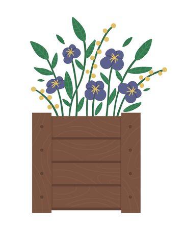 Vektorillustration des Blumenbeets. Garten dekoratives Blumenbeet aus Holz mit Veilchen. Schöne Frühlings- und Sommerpflanzen, Kräuter und Blumen.