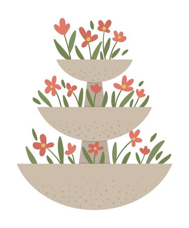 Vector illustration of stepped flower bed. Garden decorative stone flowerbed. Beautiful spring and summer herbs, plants and flowers.