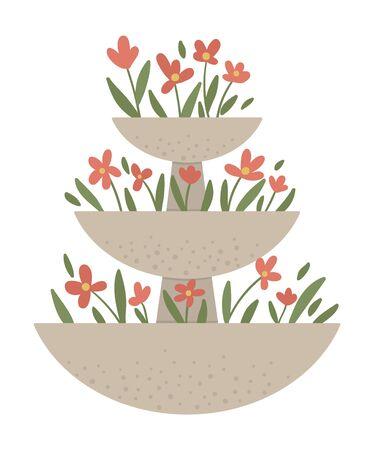 Vektorillustration des gestuften Blumenbeets. Garten dekoratives Steinblumenbeet. Schöne Frühlings- und Sommerkräuter, Pflanzen und Blumen.