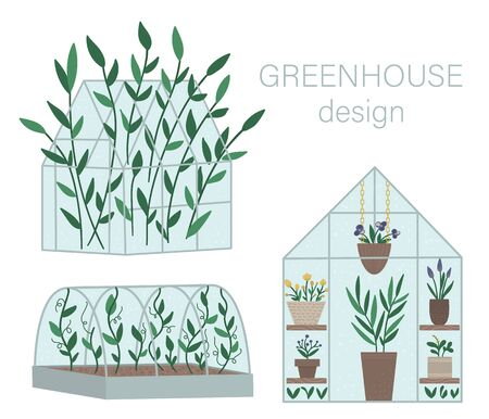 Vector set of greenhouses with plants in pots and flowers. Flat hot house illustration isolated on white background. Front and side view greenroom picture. Spring garden illustration.