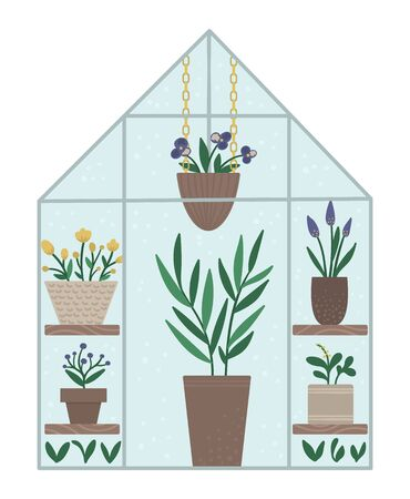 Vector greenhouse with plants in pots and flowers. Flat hot house illustration isolated on white background. Front view greenroom picture. Spring garden illustration.