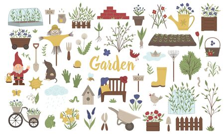 Vector big set of colored garden things, tools, flowers, herbs, plants. Collection of gardening equipment. Flat spring illustration isolated on white background. 