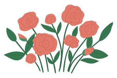 Vektor-Illustration von Rosenarrangements. Blumenstrauß für dekorative Gartenpflanzen. Sammlung schöner Frühlings- und Sommerkräuter und Blumen.