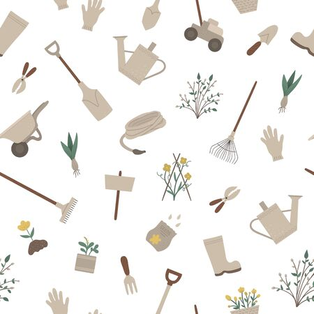 Vector seamless pattern with garden tools, flowers, herbs, plants. Repeat background with gardening equipment. Flat spring texture with spade, shovel, rakes.