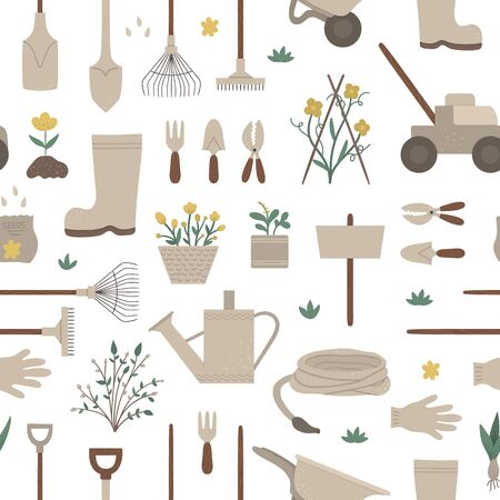 Vector geometric seamless pattern with garden tools, flowers, herbs, plants. Repeat background with gardening equipment. Flat spring texture with spade, shovel, rakes.