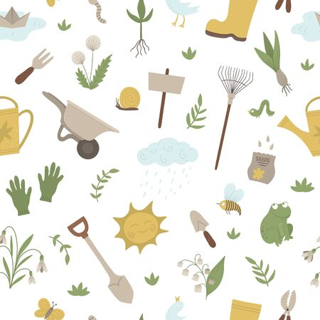 Vector seamless pattern with garden things, tools, flowers, herbs, plants. Repeat background with gardening equipment. Flat spring texture.   일러스트