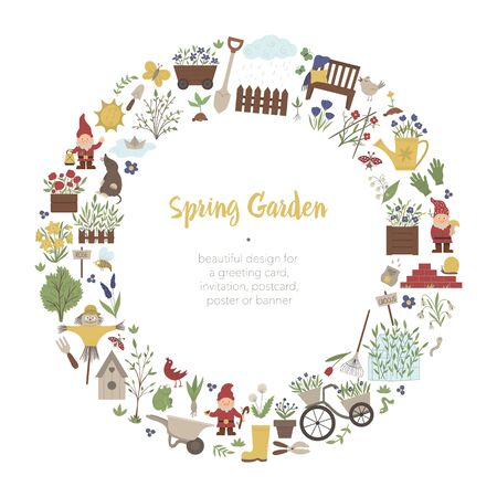 Vector round frame with springy garden tools, flowers, herbs, plants. Gardening elements banner or party invitation framed in circle. Cute funny spring wreath card template.