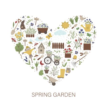 Vector frame with springy garden tools, flowers, herbs, plants. Gardening elements banner or party invitation framed in heart shape. Cute funny spring card template.