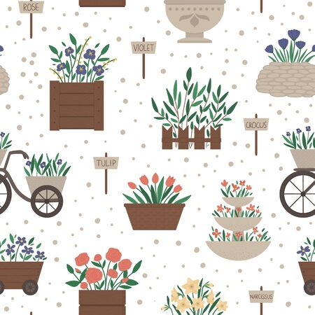 Vector seamless pattern with different flower beds. Garden repeating background with decorative flowerbeds and plants. Texture with spring herbs and flowers with sign plates.