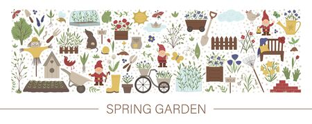 Vector horizontal layout set with garden tools, flowers, herbs, plants, insects. Gardening equipment banner, party invitation or background. Cute funny spring card template.