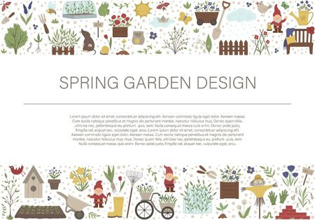 Vector horizontal layout frame with garden tools, flowers, herbs, plants, insects. Gardening equipment banner, party invitation or background. Cute funny spring card template.  일러스트