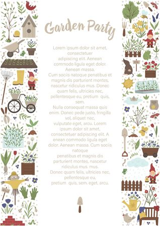 Vector vertical layout frame with garden tools, flowers, herbs, plants, insects. Gardening equipment banner, party invitation or background. Cute funny spring card template.