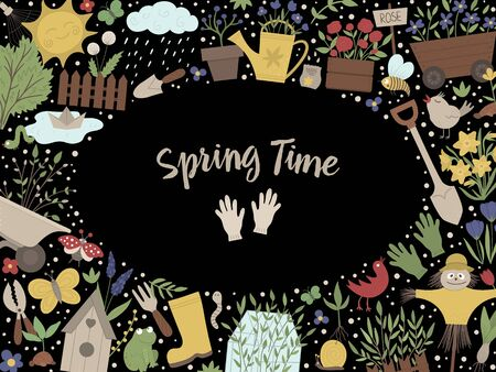 Vector Garden horizontal layout frame with gardening tools, flowers, insects, plants. Banner or invitation with place for text. Cute spring card template.  일러스트
