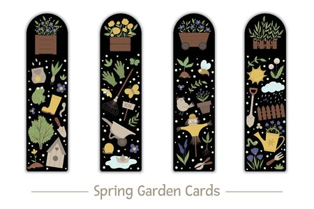 Vector set of garden bookmarks for children. Cute gardening tools, flowers, plants on black background.  Spring vertical layout card templates. Stationery for kids.