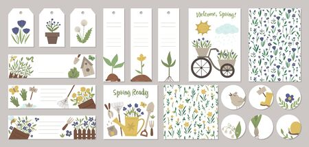 Set of vector spring garden card templates, gift tags, labels, pre-made designs, bookmarks with cute cartoon gardening elements and characters. Funny flat illustration