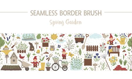 Vector spring garden seamless pattern brush. Gardening themed background. Repeating border with garden tools, flowers, plants isolated on white background. 일러스트