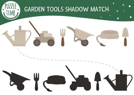 Shadow matching activity for children with garden tools. Preschool puzzle with gardening equipment. Cute spring educational riddle. Find the correct silhouette game.