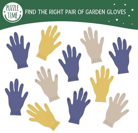 Find two same gloves. Garden or farm themed matching activity for preschool children with cute protective gardening glove. Funny spring game for kids. Logical quiz worksheet.