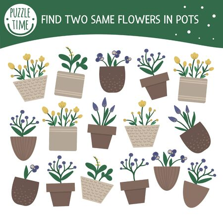 Find two same houseplants. Garden themed matching activity for preschool children with cute home plants in pots. Funny spring game for kids. Logical quiz worksheet.