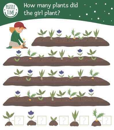 Spring searching math counting game for children with cute girl planting plants in the garden. Cute funny smiling characters. Find and count sprouts and flowers.