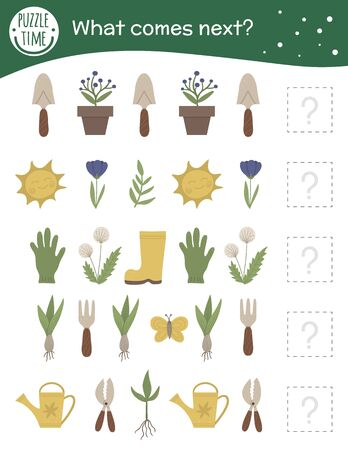 What comes next. Garden matching activity for preschool children with gardening symbols. Funny spring game for kids. Logical quiz worksheet. Continue the row. Archivio Fotografico - 140275042