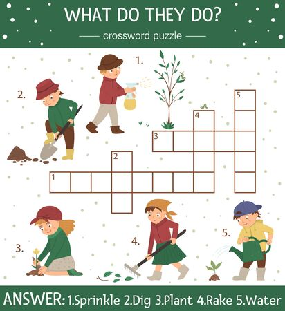 Vector spring garden crossword puzzle. Bright and colorful spring quiz for children. Educational holiday activity with cute kids doing gardening works