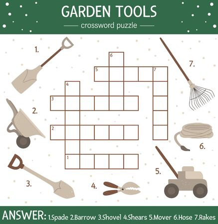 Vector spring garden crossword puzzle. Bright and colorful spring quiz for children. Educational holiday activity with gardening tools