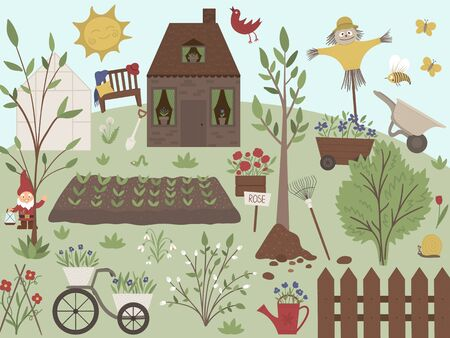 Vector illustration of garden with tools, flowers, herbs, plants. Flat spring scene with a farm or country house with trees, bench, greenhouse, sun, gardening equipment.