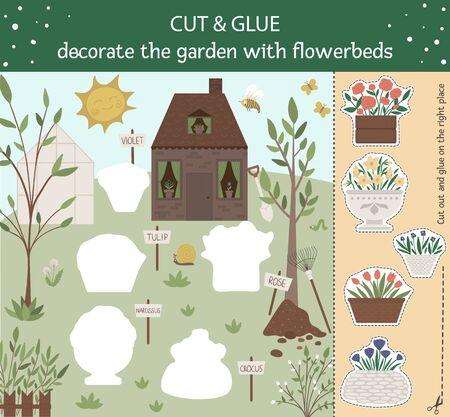 Coupe et colle de jardin de vecteur pour les enfants. Activité éducative de printemps avec des plantes et des fleurs. Décorez le jardin avec des parterres de fleurs. Vecteurs