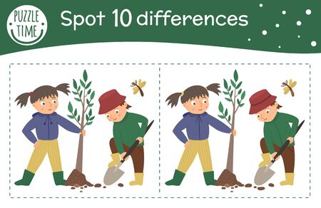 Spring find differences game for children. Garden preschool activity with girl and boy planting tree. Puzzle with cute funny smiling characters.