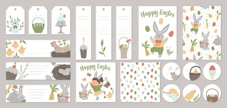 Set of vector Easter holiday card templates, gift tags, labels, pre-made designs, bookmarks with cute cartoon spring elements and characters. Funny flat illustration Illustration
