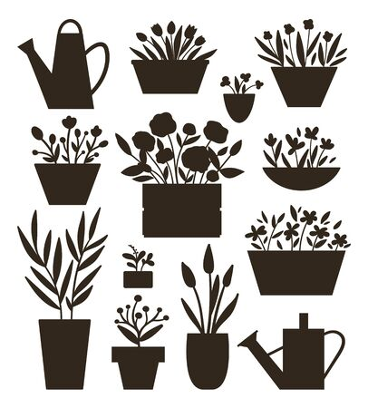 Vector illustration of plants in pots and beds with watering cans silhouettes . Flat trendy hand drawn set of houseplants for home gardening design. Collection of beautiful spring and summer flowers