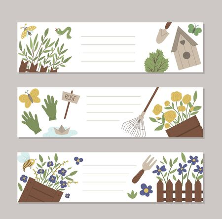 Set of vector spring garden horizontal layout card templates with cute cartoon gardening elements and characters. Funny flat illustration 일러스트