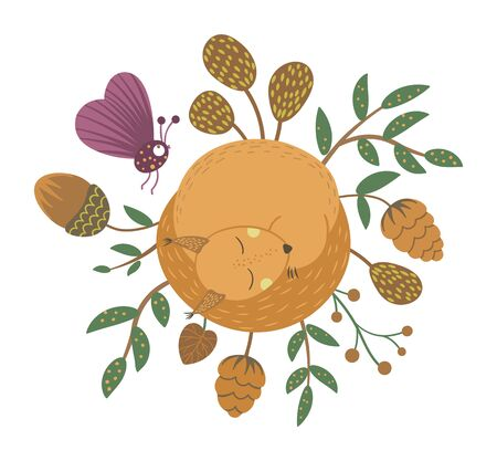 Vector hand drawn flat sleeping squirrel with acorn, cone, insect, leaves. Funny autumn scene with woodland animal. Cute forest animalistic illustration for children's design, print, stationery 일러스트