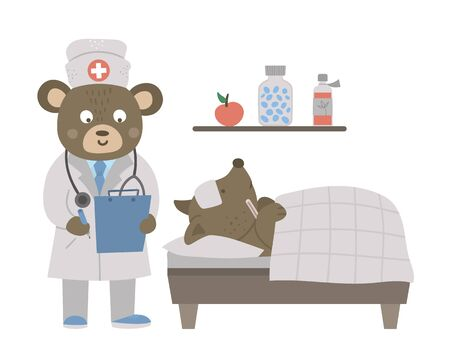 Vector animal doctor treating patient. Bear making notes in anamneses near patient bed. Cute funny characters. Medicine picture for children. Hospital scene isolated on white background