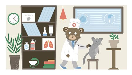 Vector hospital ward. Funny animal doctor listening to patients lungs in clinic office. Medical interior flat illustration for kids. Health care concept