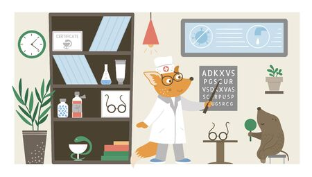 Vector hospital ward. Funny animal doctor checking patients eyesight in clinic office. Medical interior flat illustration for kids. Health care concept