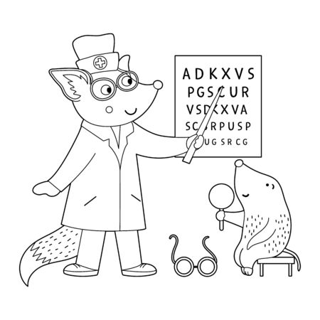 Vector outline animal doctor treating patient. Squirrel checking mole's eyesight. Cute funny characters. Medicine coloring page for children. Hospital scene isolated on white background
