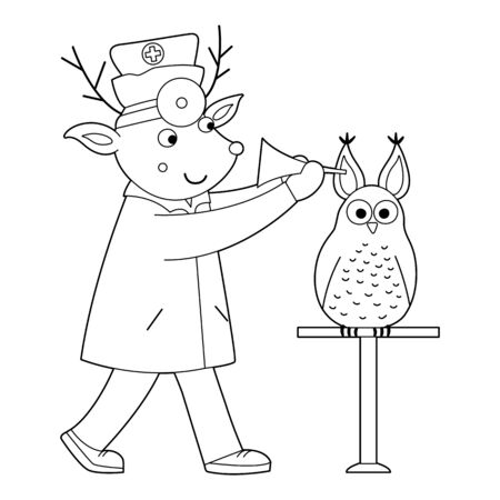Vector outline animal doctor treating patient. Deer checking owl's ears. Cute funny characters. Medicine coloring page for children. Hospital scene isolated on white background