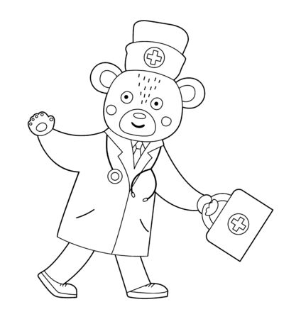 Vector outline bear doctor going with first aid kit and waving his hand. Cute funny animal character. Medicine coloring page for children. Healthcare icon isolated on white background Illusztráció