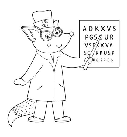 Vector outline animal doctor. Cute funny fox character. Medical coloring page for children. Hospital illustration isolated on white background.
