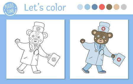 Medicine coloring page for children. Vector bear doctor going with first aid kit and waving his hand. Cute funny animal character outline. Healthcare color book isolated on white background Illusztráció