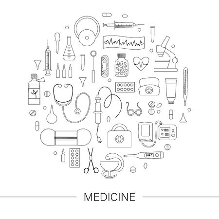 Cadre rond de vecteur avec des contours d'équipements et d'outils médicaux. Conception de bannière d'éléments de ligne de médecine encadrée en cercle. Modèle de carte de soins de santé, de chèque ou de recherche amusant et mignon.