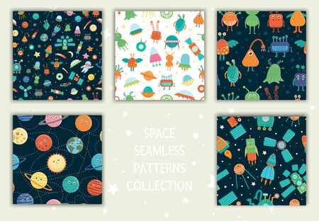 Vector collection of space seamless patterns. Bright and cheerful repeat backgrounds with planets, stars, space technics, aliens, satellite, moon, sun, asteroid, astronaut, UFO