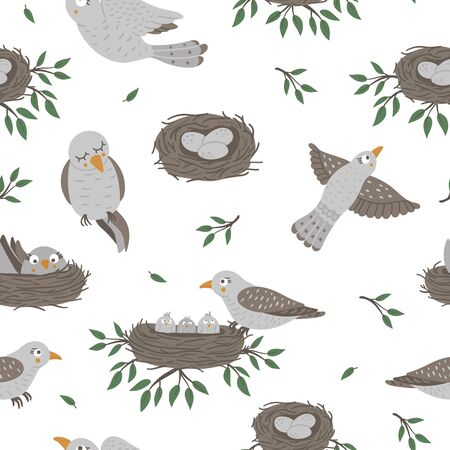 Vector seamless pattern with baby birds and their parents. Funny woodland animal background showing family love. Cute forest animalistic texture for Mother's Day design 向量圖像