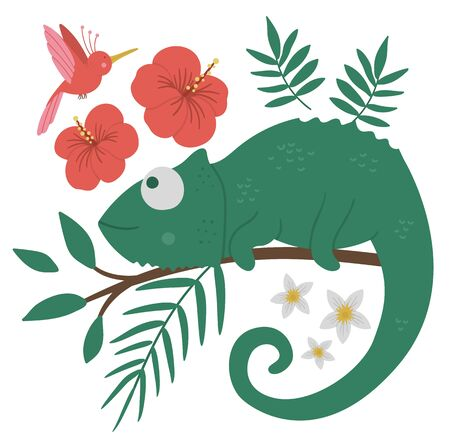 Vector cute chameleon on a tree brunch with leaves and flowers and paradise bird. Funny tropical exotic animal illustration. Bright flat picture for children. Jungle summer clip art